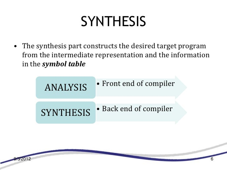 SYNTHESIS• The synthesis part constructs the desired target program  from the intermediate representation and the informat...