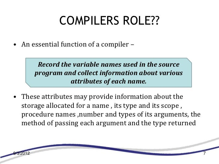 COMPILERS ROLE??• An essential function of a compiler –            Record the variable names used in the source           ...