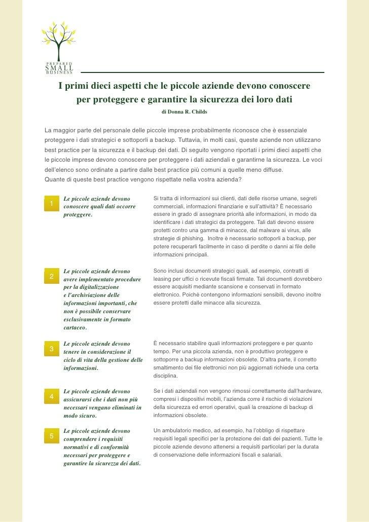 I primi dieci aspetti che le piccole aziende devono conoscere           per proteggere e garantire la sicurezza dei loro d...