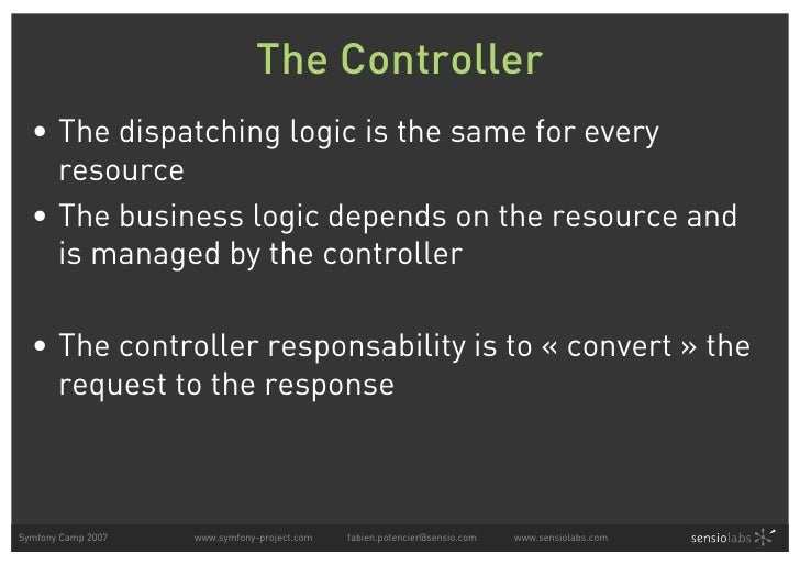 The Controller   • The dispatching logic is the same for every     resource   • The business logic depends on the resource...