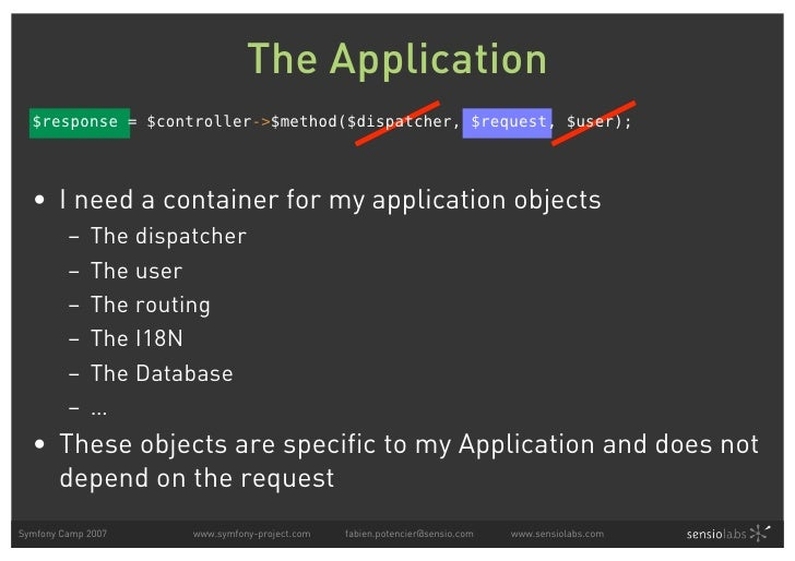 The Application   $response = $controller->$method($dispatcher, $request, $user);       • I need a container for my applic...