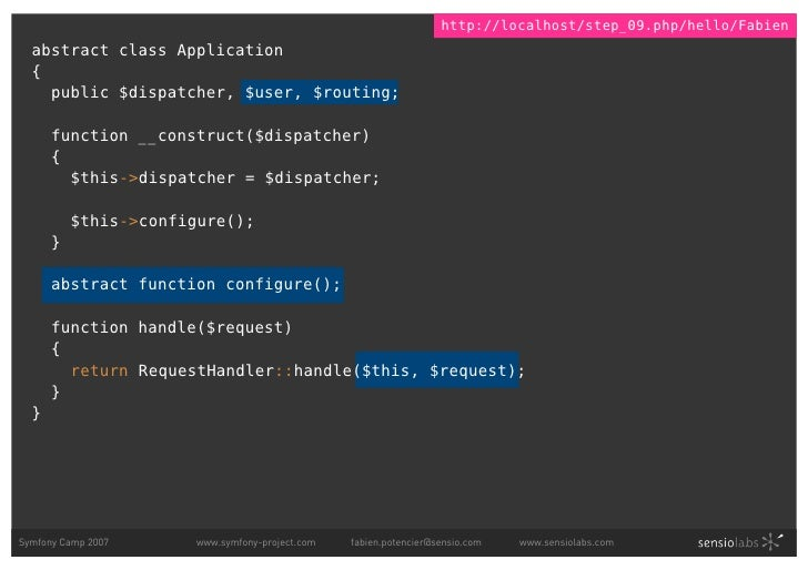 http://localhost/step_09.php/hello/Fabien   abstract class Application   {     public $dispatcher, $user, $routing;       ...