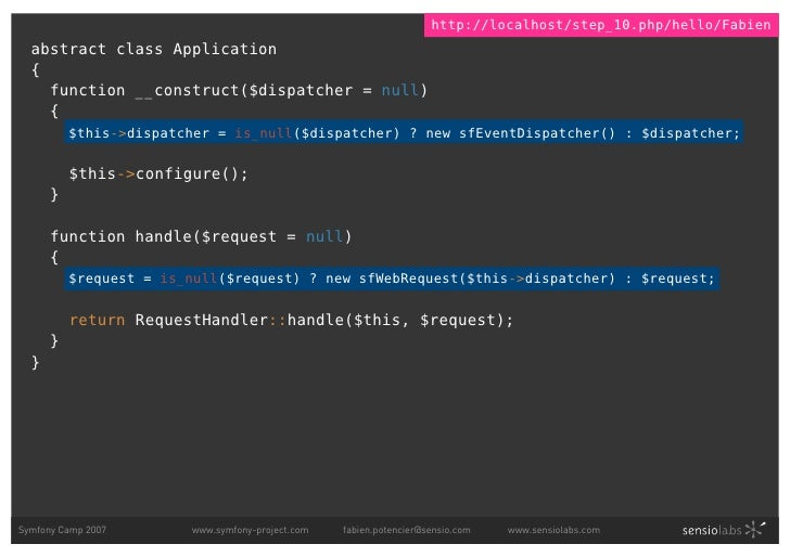 http://localhost/step_10.php/hello/Fabien   abstract class Application   {     function __construct($dispatcher = null)   ...