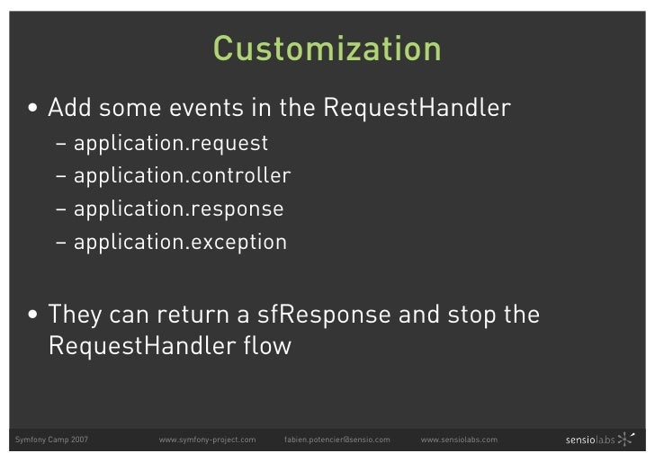 Customization   • Add some events in the RequestHandler          – application.request          – application.controller  ...