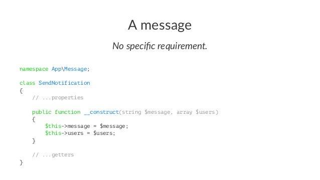 Register your handler # config/services.yaml services: AppMessageHandlerSendNotificationHandler: tags: ['messenger.message...