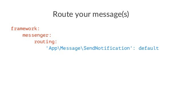 Your own Envelope item use SymfonyComponentMessengerEnvelopeAwareInterface; use SymfonyComponentMessengerMiddlewareMiddlew...
