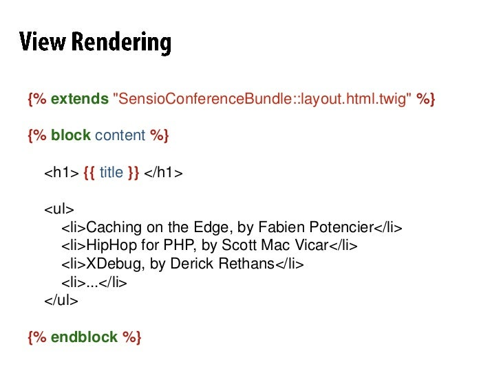 """RequestHandling<br />classDefaultControllerextends Controller<br />{<br />/**<br />     * @Route(""""/hello/{name}"""")<br />   ..."""