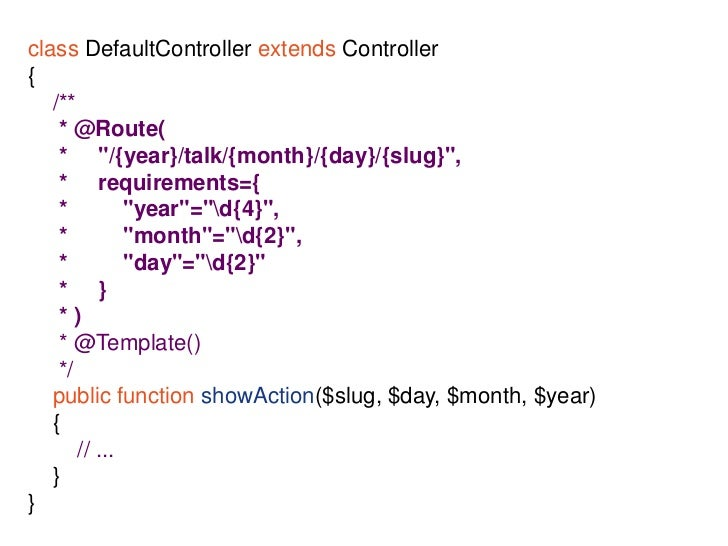 "Flexible</li></li></ul><li>Template inheritance<br />{%extends""SensioConferenceBundle::layout.html.twig""%}<br />{%block co..."