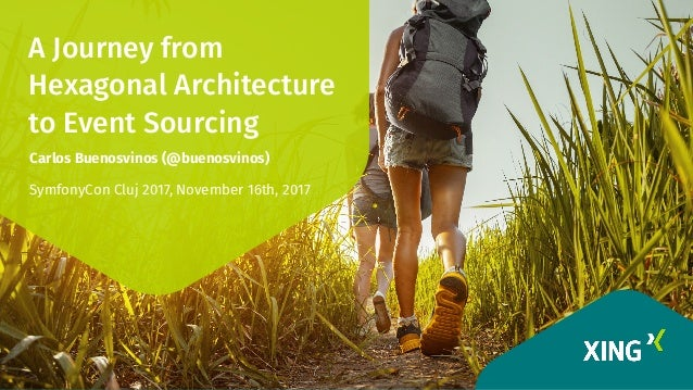 A Journey from Hexagonal Architecture to Event Sourcing Carlos Buenosvinos (@buenosvinos) SymfonyCon Cluj 2017, November 1...