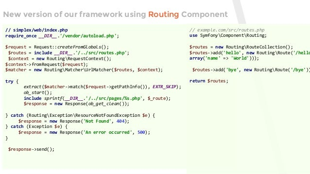 Creating your own framework on top of Symfony2 Components