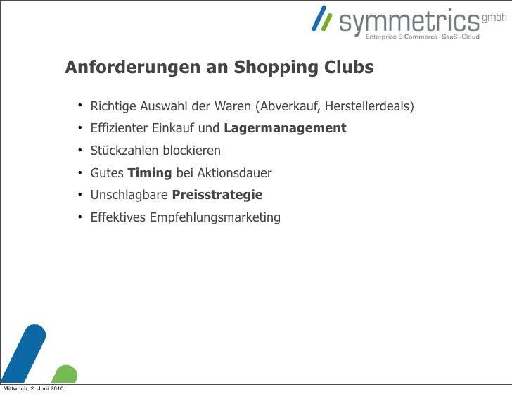 Anforderungen an Shopping Clubs                                                          Richtige Auswahl der Waren (Abve...