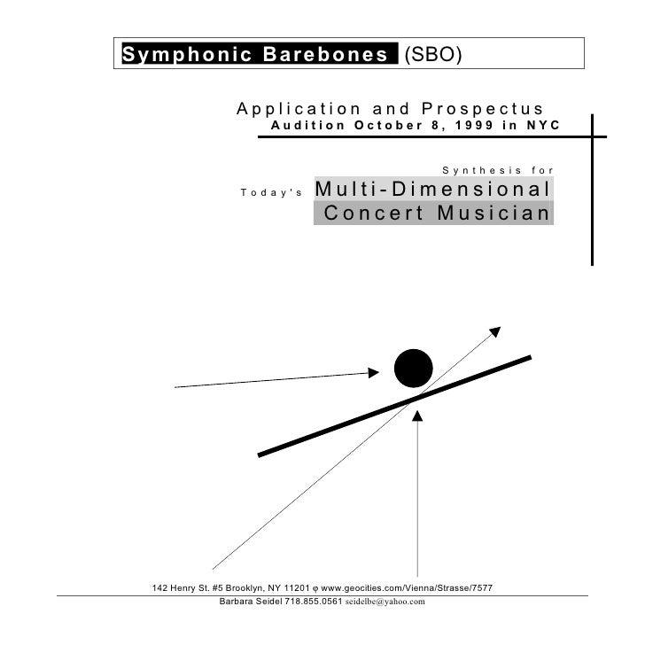 Symphoni c Barebones (SBO)                      Application and Prospectus                             Audition October 8,...