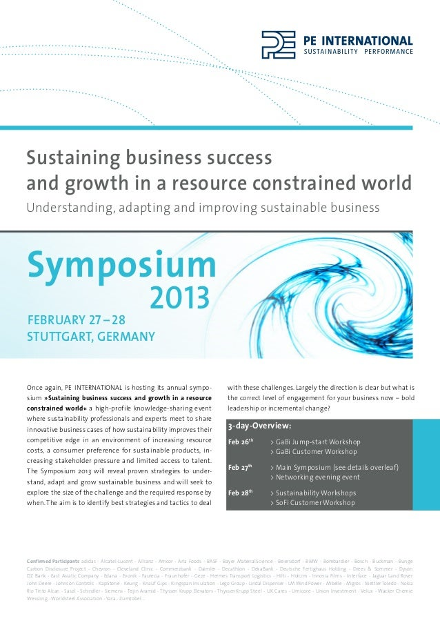 Sustaining business successand growth in a resource constrained worldUnderstanding, adapting and improving sustainable bus...