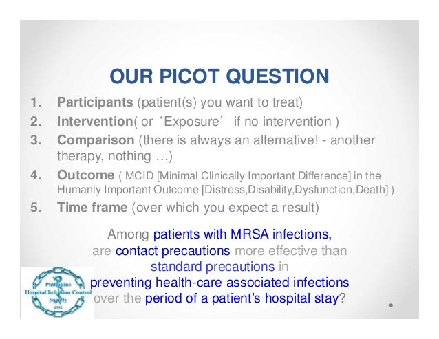 picot examples Asking clinical questions there are two main types of clinical questions: background questions and foreground  as an example, clinical questions frequently use .