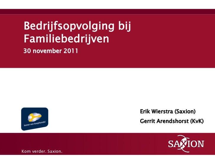 Bedrijfsopvolging bijFamiliebedrijven30 november 2011                        Erik Wierstra (Saxion)                       ...
