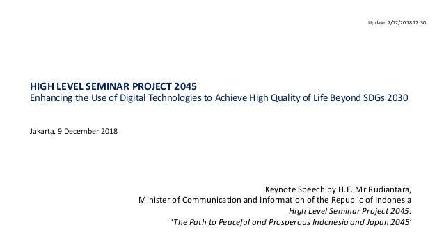 H E  Mr Rudiantara's Keynote Speech at the High Level Seminar Project…