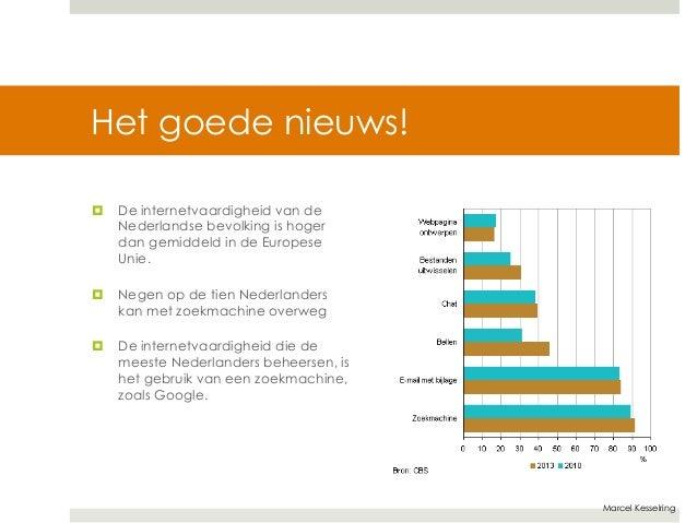 Marcel Kesselring  Het goede nieuws!  ¤ De internetvaardigheid van de  Nederlandse bevolking is hoger  dan gemiddeld in d...
