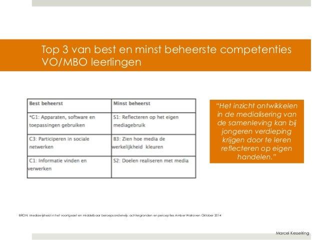 """Top 3 van best en minst beheerste competenties  VO/MBO leerlingen  """"Het inzicht ontwikkelen  in de medialisering van  de s..."""