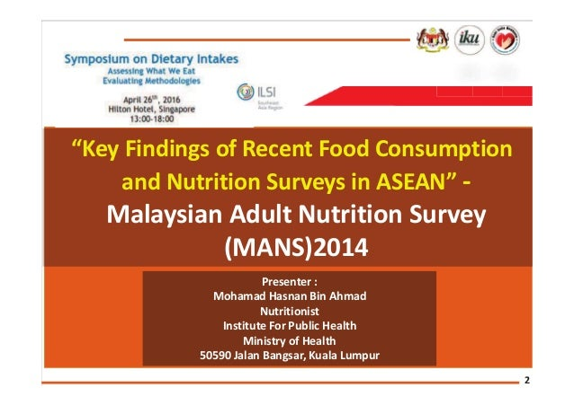 food consumption patterns findings from the malaysian adult nutrition survey mans Energy and nutrient intakes: findings from the malaysian adult nutrition survey (mans.