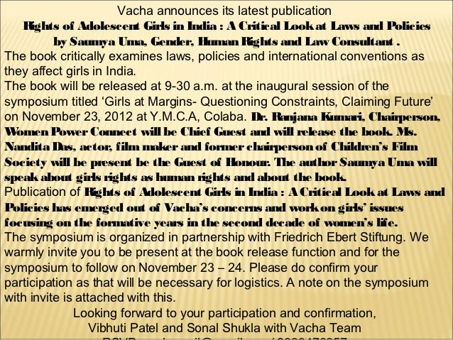 Vacha announces its latest publication   Rights of Adolescent Girls in India : A Critical Look at Laws and Policies       ...