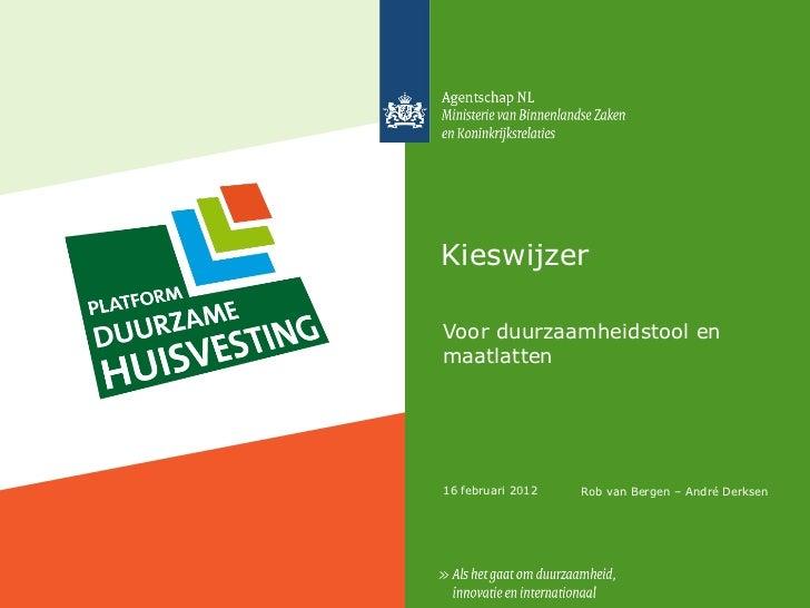 Kieswijzer - Platform Duurzame Huisvesting