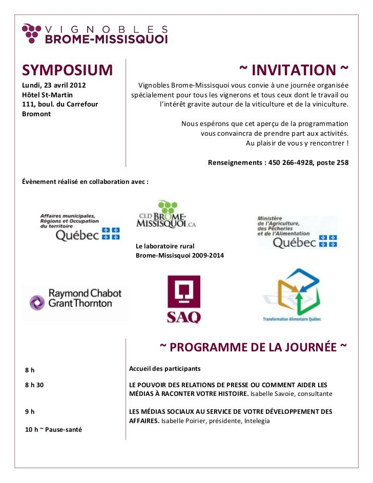 SYMPOSIUM                                                             ~ INVITATION ~Lundi, 23 avril 2012                 V...