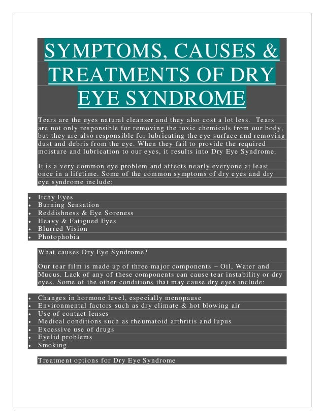 SYMPTOMS, CAUSES & TREATMENTS OF DRY EYE SYNDROME