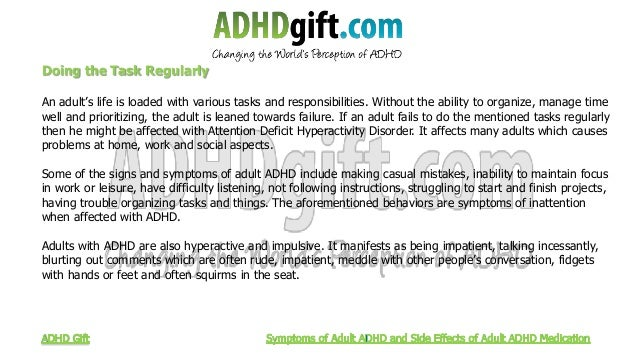 Symptoms Of Adult Adhd And Side Effects Of Adult Adhd