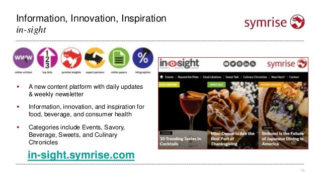 Information, Innovation, Inspiration 13 in-sight  A new content platform with daily updates & weekly newsletter  Informa...