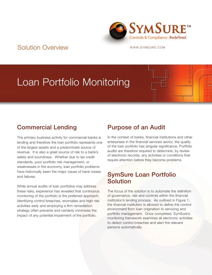 Solution Overview                                                        WWW.SYMSURE.COM     Loan Portfolio Monitoring    ...