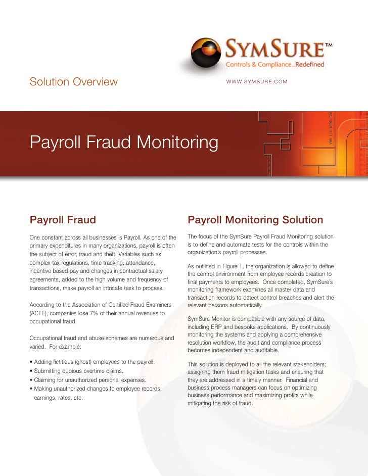 Solution Overview                                                              WWW.SYMSURE.COM     Payroll Fraud Monitorin...
