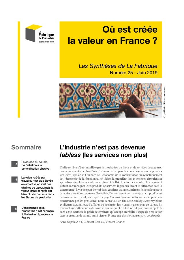 Où est créée la valeur en France ? Les Synthèses de La Fabrique Numéro 25 - Juin 2019 L'industrie n'est pas devenue fables...