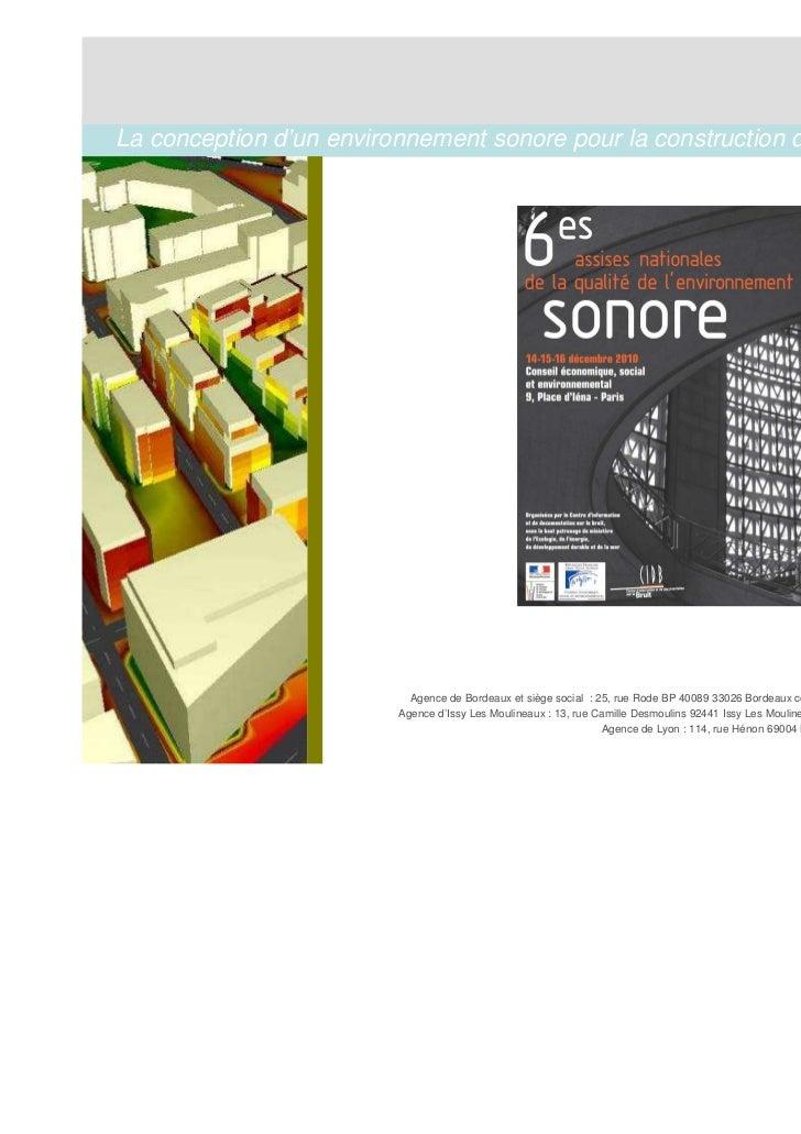 La conception d'un environnement sonore pour la construction d'un ECOQUARTIER »                                           ...