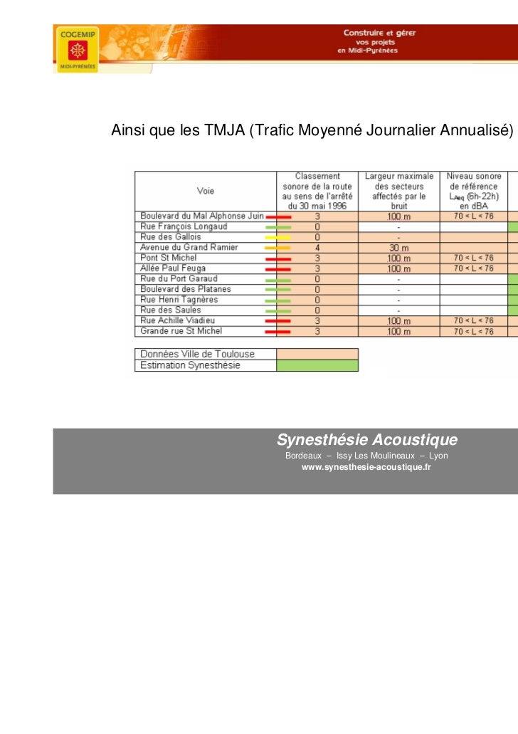 Ainsi que les TMJA (Trafic Moyenné Journalier Annualisé) pour les routes                       Synesthésie Acoustique     ...