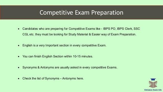 Synonym - Antonyms IBPS | SSC English Preparation