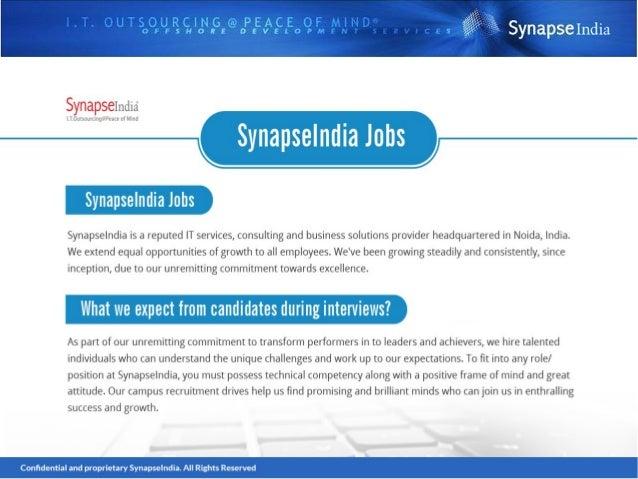 Social channels: https://www.linkedin.com/company/synapseindia-jobs www.facebook.com/synapseindiajobs https://twitter.com/...