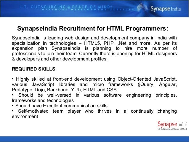For more details about SynapseIndia Recruitment process Visit below links https://www.linkedin.com/company/synapseindia-jo...