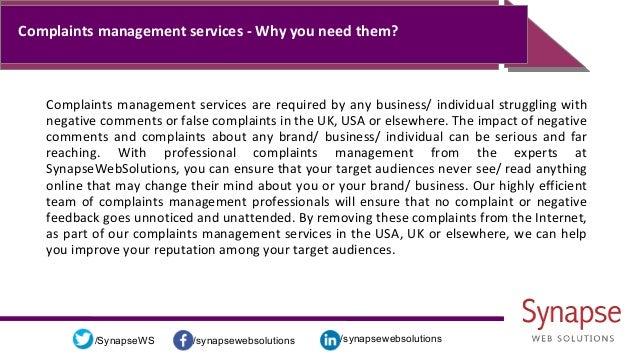 /synapsewebsolutions/synapsewebsolutions/SynapseWS Complaints management services - Why you need them? Complaints manageme...