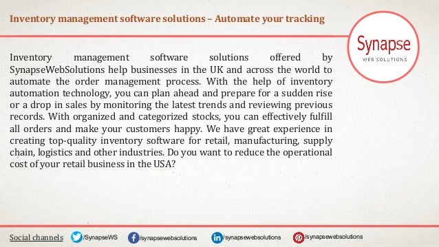 Inventory management software solutions – Automate your tracking Social channels /synapsewebsolutions/synapsewebsolutions/...