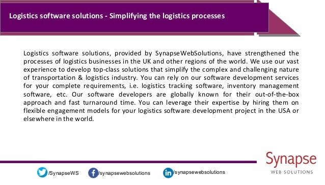 /synapsewebsolutions/synapsewebsolutions/SynapseWS Logistics software solutions - Simplifying the logistics processes Logi...