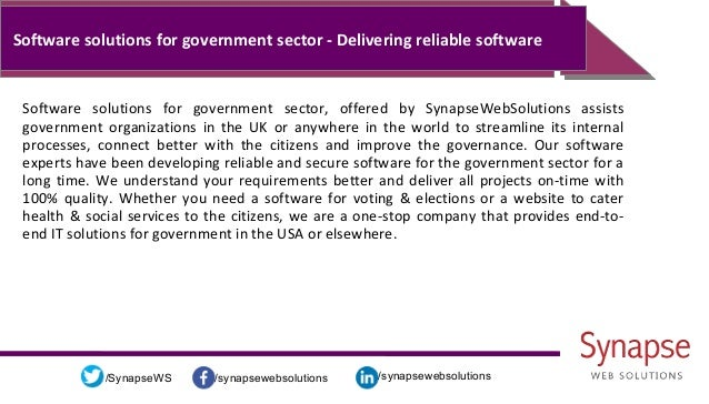 /synapsewebsolutions/synapsewebsolutions/SynapseWS Software solutions for government sector - Delivering reliable software...