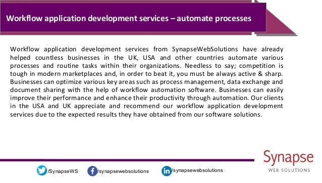 /synapsewebsolutions/synapsewebsolutions/SynapseWS Workflow application development services – automate processes Workflow...