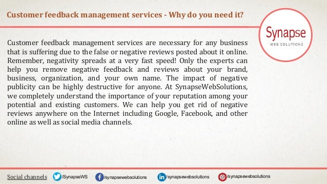 Customer feedback management services - Why do you need it? Social channels /synapsewebsolutions/synapsewebsolutions/Synap...