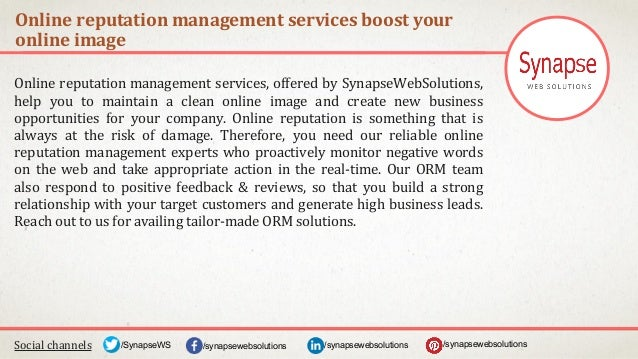 Online reputation management services boost your online image Social channels /synapsewebsolutions/synapsewebsolutions/Syn...
