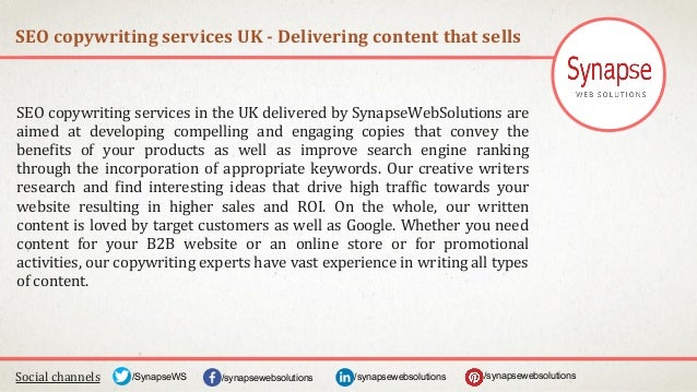 SEO copywriting services UK - Delivering content that sells Social channels /synapsewebsolutions/synapsewebsolutions/Synap...