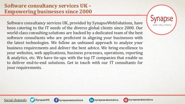 Software consultancy services UK – Empowering businesses since 2000 Social channels /synapsewebsolutions/synapsewebsolutio...