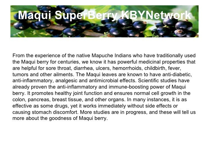 Maqui SuperBerry KBYNetwork From the experience of the native Mapuche Indians who have traditionally used the Maqui berry ...