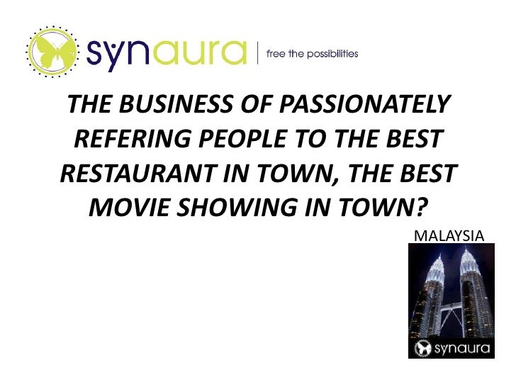 THE BUSINESS OF PASSIONATELYREFERING PEOPLE TO THE BEST RESTAURANT IN TOWN, THE BEST MOVIE SHOWING IN TOWN?<br />MALAYSIA<...