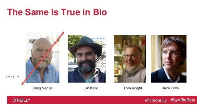 @timoreilly #SynBioBeta@timoreilly #SynBioBeta The Same Is True in Bio 4 Jim KentCraig Venter Drew EndyTom Knight