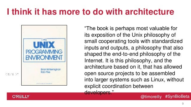 "@timoreilly #SynBioBeta@timoreilly #SynBioBeta I think it has more to do with architecture ""The book is perhaps most valua..."